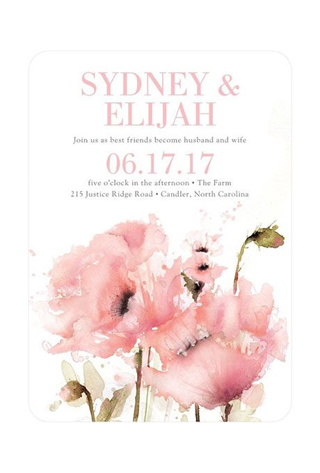 This watercolor @weddingpaper invitation is great for a spring wedding!   Brides.com