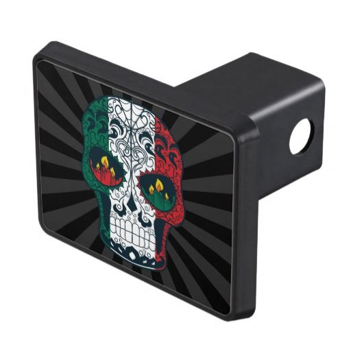 Mexican Flag Colors Day Of The Dead Sugar Skull Hitch Cover
