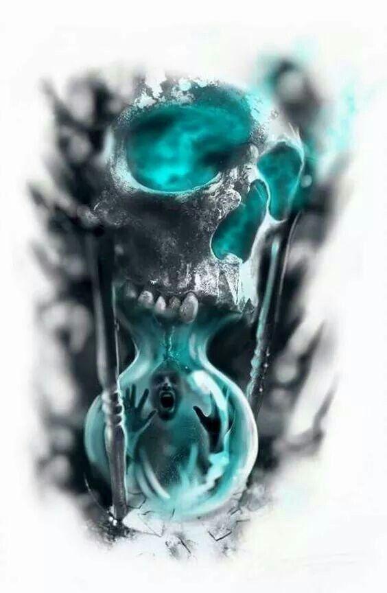 Sanduhr Totenkopf blau
