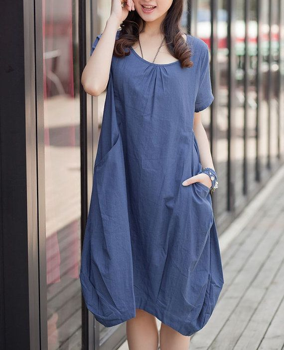 Blue linen dress maxi dress short sleeve by originalstyleshop, $53.00