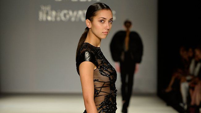 Embellished Silk Organza Dress with Leather contrast designed by Ying Yuan.