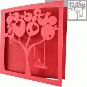 "IDEA:  two ""family"" trees [reaching out to] holds hands/branches :D  View Design: love tree card"