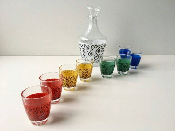 Carafe drinking set with glass cups barware by SvealandVintage