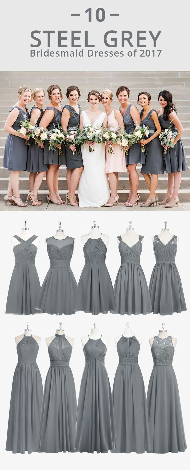 Dress your bridesmaids in steel grey! Available in sizes 0-30 and free custom sizing! Every woman deserves their dream dress, that fits right while still being budget friendly! I Photos by Ashley Fisher Photography