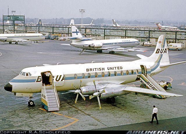 British United Vickers 833 Viscount at London's modern looking Gatwick terminal...