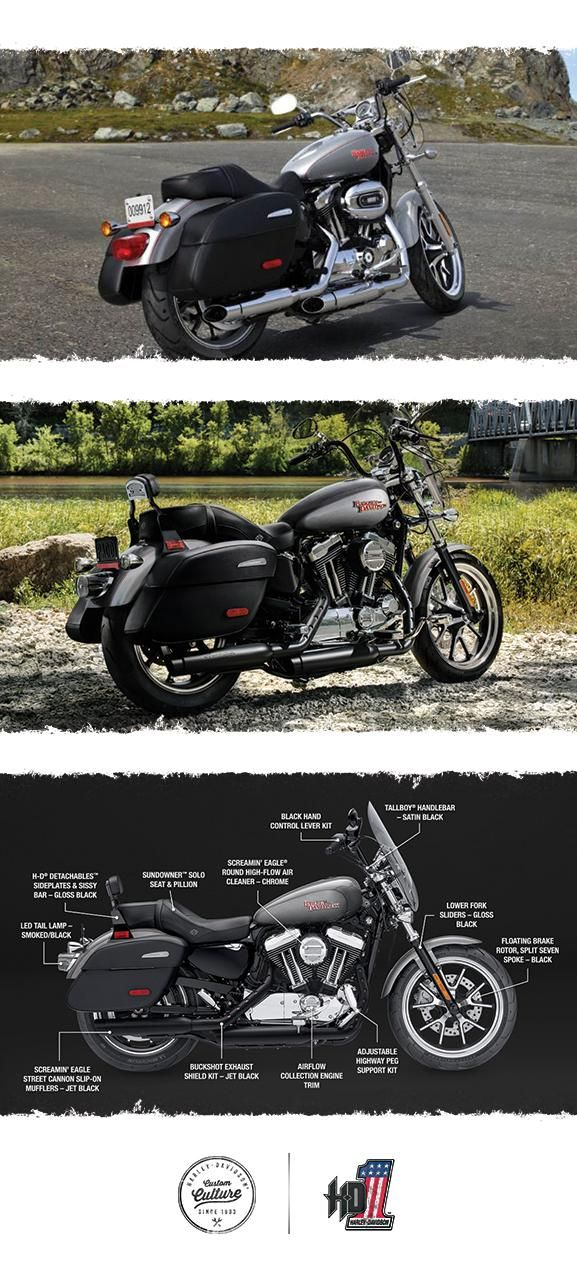 You've never seen so many big touring features packed into such a light, easy-handling machine. | 2017 Harley-Davidson SuperLow 1200T