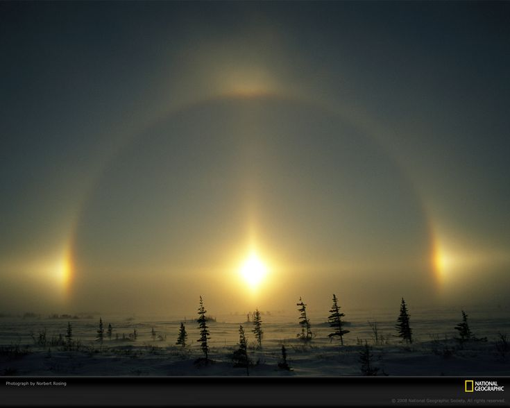 Sundog Light Phenomenon, Manitoba, Canada, 2005  Photograph by Norbert Rosing