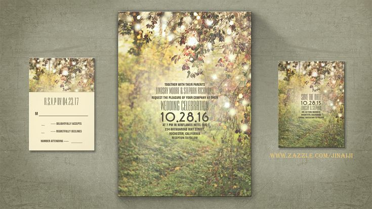 Natural Nature And Tree Path Wedding Invitation Decorated