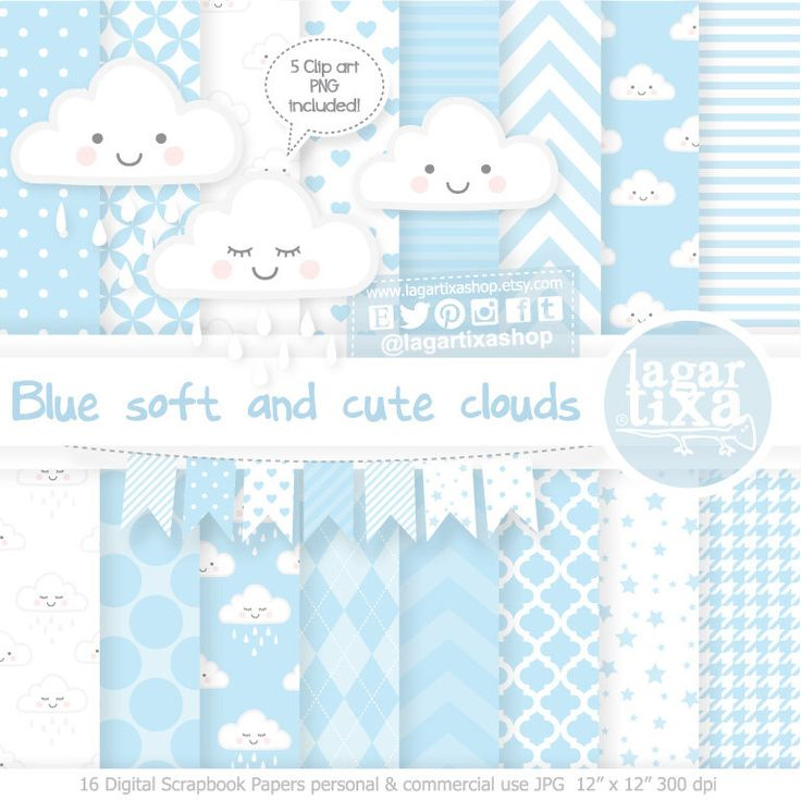 https://www.etsy.com/mx/listing/550298523/nubes-tiernas-lluvia-sonriendo-durmiendo #clouds #kawaii #babyshower #shower #cute #babyboy #itsaboy #mybaby #patterns #nubes #azul