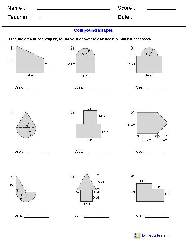 Area of Compound Shapes Adding Regions Worksheets | Area ...