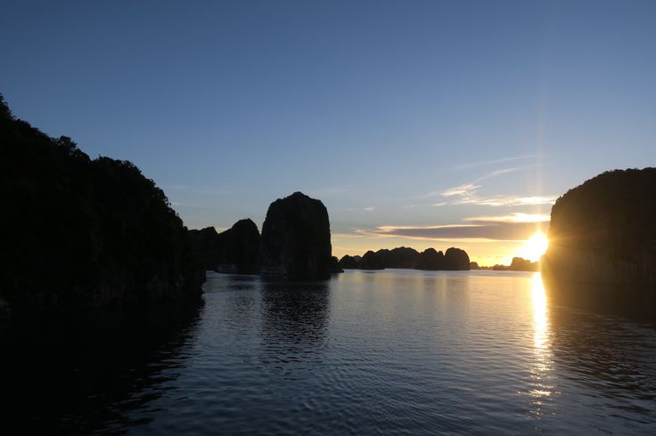 Sunset from out cruise in Bai Tu Long Bay, Vietnam
