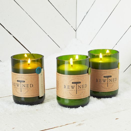 Handcrafted in Charleston, South Carolina, these Rewined Candles (in repurposed wine bottles!) evoke your favorite vintage with their subtle wine-inspired appearance and aroma.
