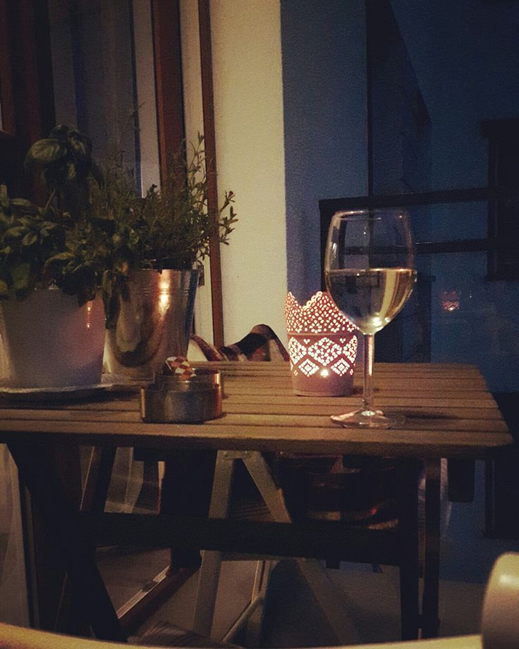 #balcony #wine #evening #light #relax #myhome #wood #woodtable #woodchair #basil #lavender