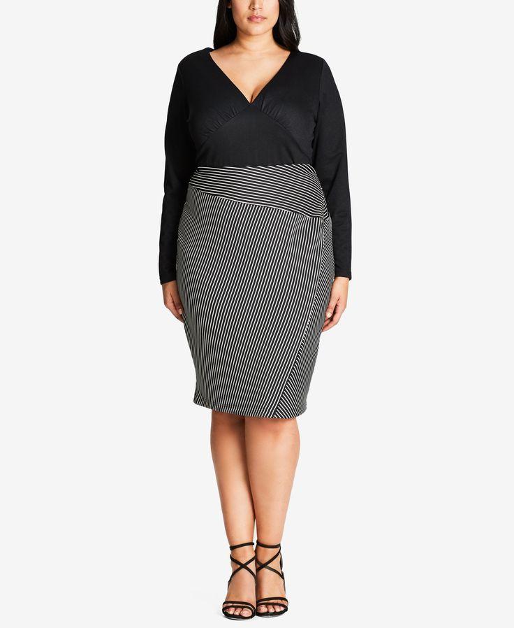 City Chic Trendy Plus Size Striped Pencil Skirt