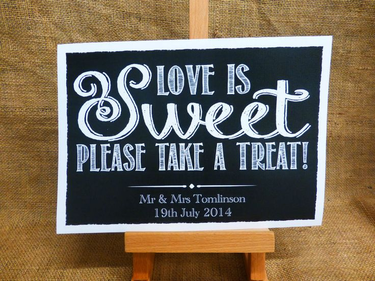 VINTAGE chalkboard style LOVE IS SWEET CANDY BAR CART BUFFET SIGN WEDDING A4 A3