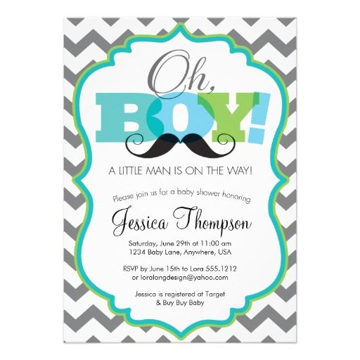 Elegant Oh Boy Mustache Baby Shower Invitation