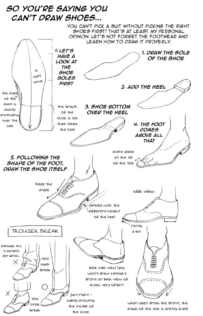 So you cannot draw shoes? http://www.heritageofscotland.com/p,mens-style-guide,page.php