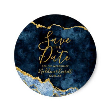 Navy Blue Gold Foil Agate Marble Save The Date Classic