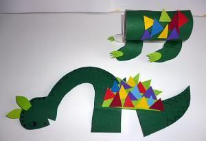 Dinosaurier aus Toilettenpapierrolle - Tiere Basteln - Meine Enkel und ich - Made with schwedesign.de