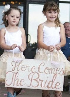 Here Comes the Bride Sign by HomemadeWithLoveWed on Etsy, $20.00