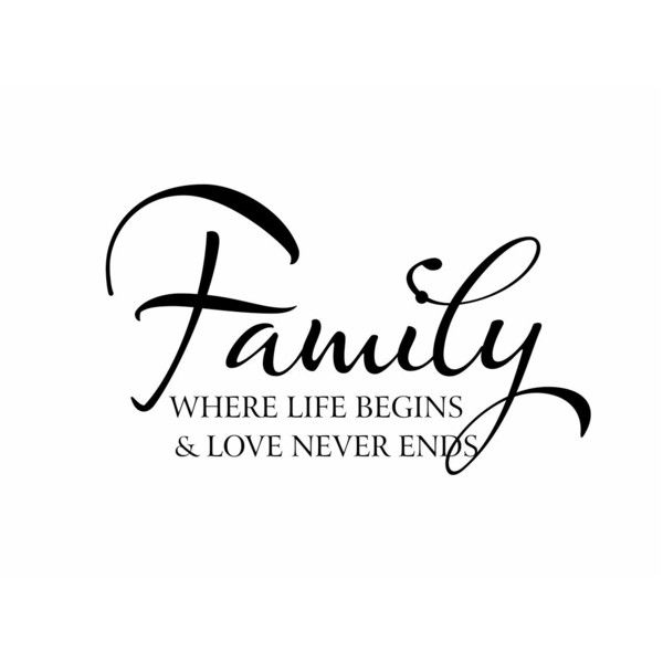 Family Vinyl Wall Decal Wall Quote Saying Where Life Begins and Love Never Ends for Living Room Family Room Foyer 22Hx36W FS159 ($39) found on Polyvore