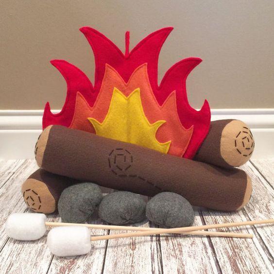Campfire Play Set, Campfire Set, Felt Campfire, Montessori, Fake Campfire, Pillow, Play Food, Pretend, Teepee, Decor, Prop