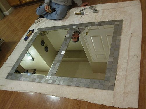 diy aluminum tile mirror i want to do this in my bathroom