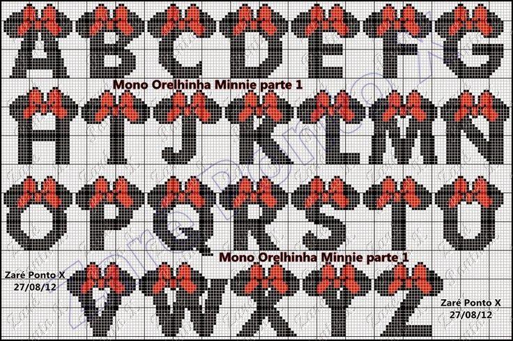 Risultati immagini per alfabeto minnie punto croce