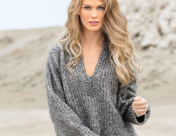 Описание вязания на спицах объемного пуловера из меланжевой пряжи из журнала «Сабрина» №11/2016 