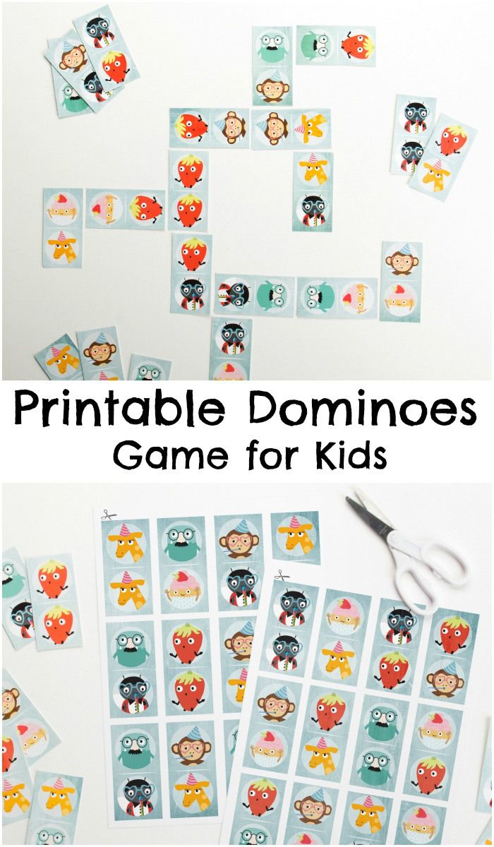 Printable dominoes game for kids // Imprimible de dominó para niños