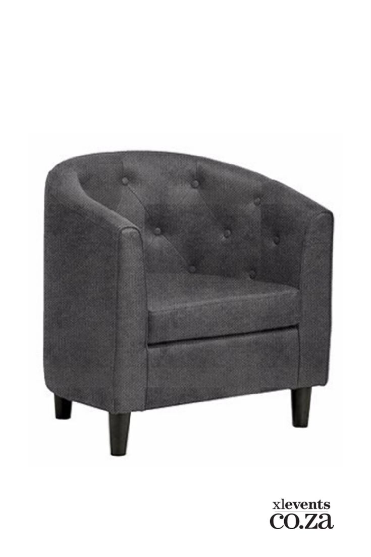 Grey Tub Chair available for hire for your wedding, conference, party or event. Browse our selection of chairs and furniture in our online catelogue.
