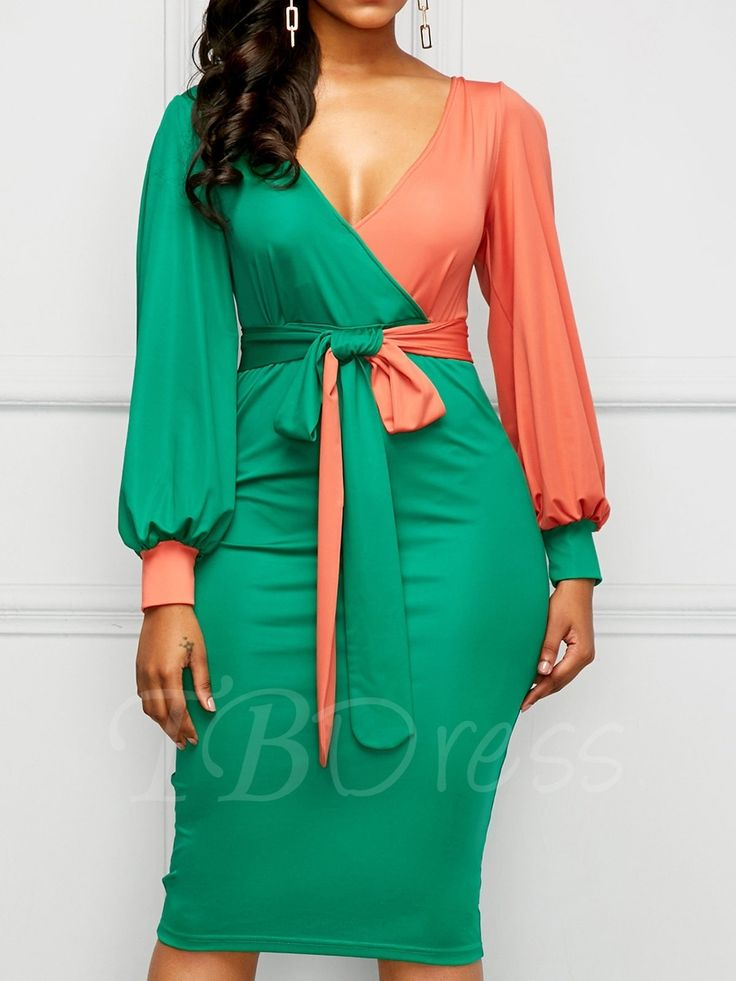 Tbdress.com offers high quality Green Lace up Lantern Sleeve Women's Bodycon Dress Bodycon Dresses unit price of $ 24.99.