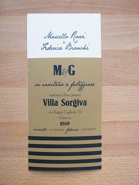 Marino Rustico - partecipazione e invito a scheda a tema marino su carta grezza di cotone bicolor