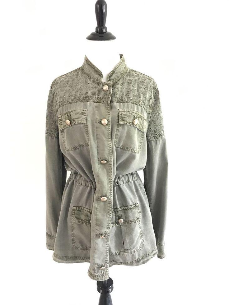 Chicos Sz 1 Vintage Embroidered Geometric Top Button Down Drawstring Waist Green #Chicos #vintage #militaryjacket
