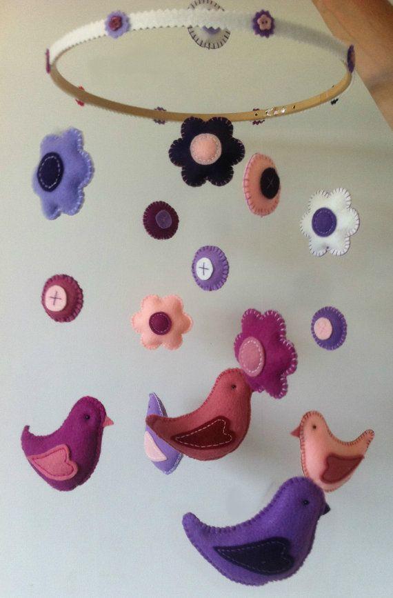 Birds & Flowers  Baby Mobile for Girls  Custom by PrincessAllipops, £35.00