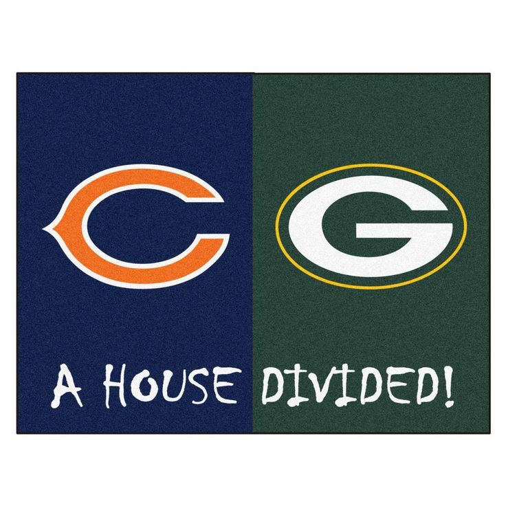 NFL Bears/Packers Navy House Divided 2 ft. 10 in. x 3 ft. 9 in. Accent Rug, Blue/Green
