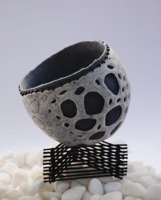 "another felt vessel from ""Layering surfaces in the third dimension"" ---- Treasure Nests & Vessels - Martien van Zuilen Felt MakerTeacherWriter"
