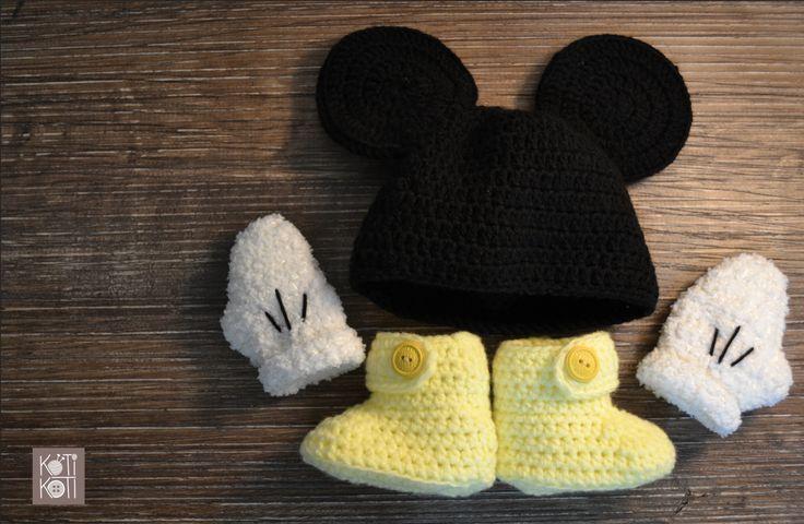 Mickey para bebé, tejido a mano