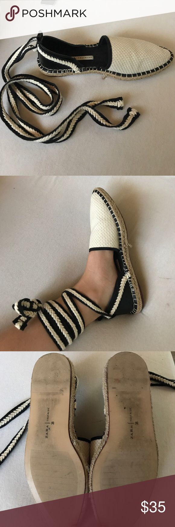 Zara black and white Espadrilles! Size 38 Worn a few times. Super comfortable. Goes with everything! Size 38 but I wear a size 7.5 in everything and these fit perfectly! Zara Shoes Espadrilles