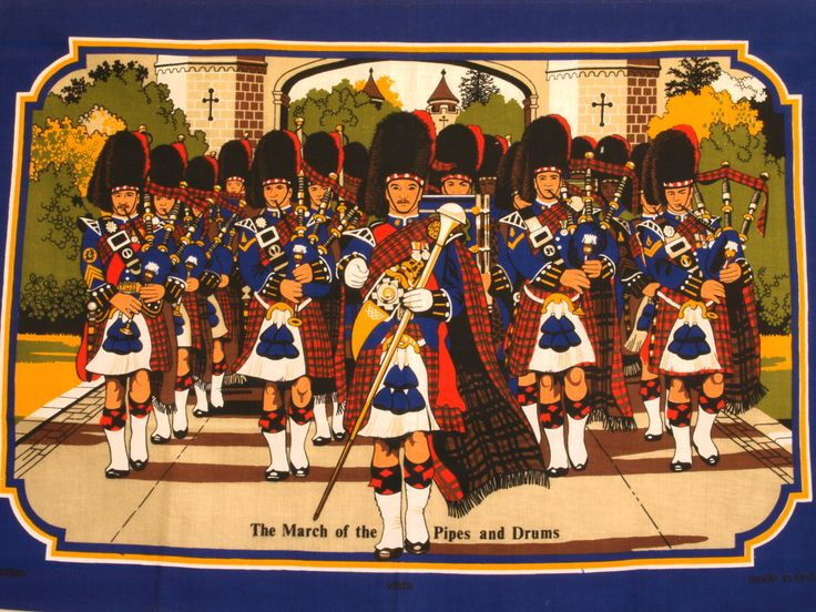 Vintage Vista The March of the Pipes and Drums Tea Towel - Scotland Tea Towel - Made in Britain - New Old Stock by FunkyKoala on Etsy