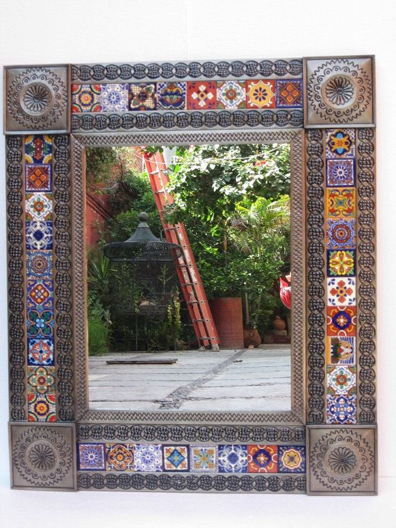 PUNCHED TIN MIRROR mixed  talavera tile . [ MexicanConnexionForTile.com ] #design #Talavera #handmade