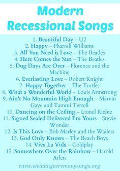 Modern Wedding Recessional Songs. #weddingmusic