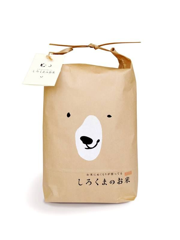 Shirokuma Rice Packaging by Ryuta Ishikawa. I would buy this brand of rice just for the packaging! via: Spoon & Tamago