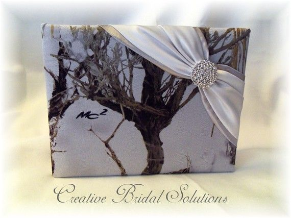 Snow Camo Wedding Guest Book by CreativeBridal on Etsy