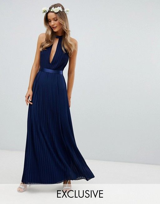 1b7f3aee000e TFNC Pleated Maxi Bridesmaid Dress with Cross Back and Bow Detail