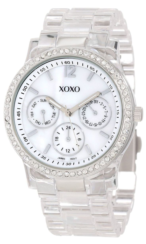 #Cheap #Watch , XOXO Women's XO5529 Clear Bracelet with Rhinestones on  Silver Case Watch