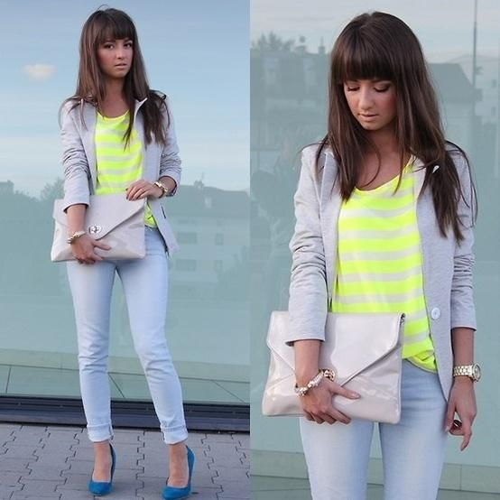I love this outfit. Neon Stripes.