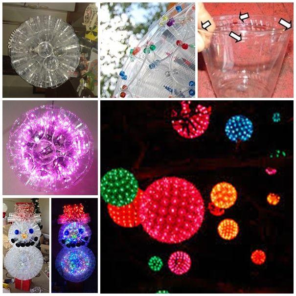 Wonderful DIY Christmas Sparkle Ball Decoration from Plastic cups | WonderfulDIY.com