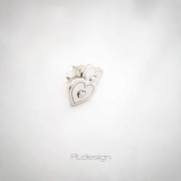Little heart of the day. Sterling silver earrings