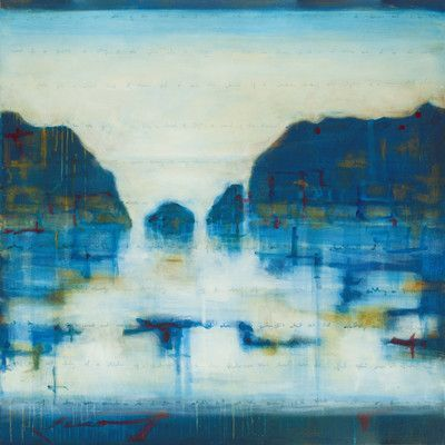 """Art Excuse Blue Harbor by Julie Montgomery Original Painting on Wrapped Canvas Size: 40"""" H x 40"""" W x 1.5"""" D"""